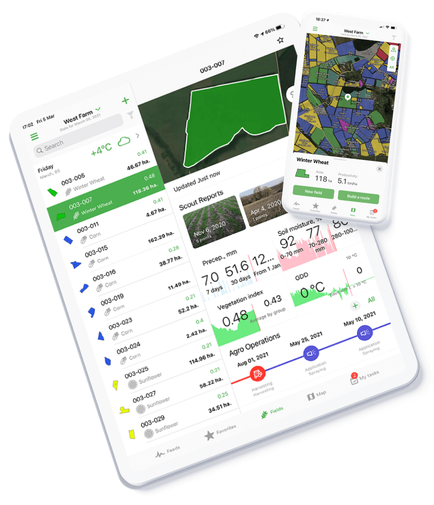 Cropwise operations available on mobile and iPad, Google Play and App Store